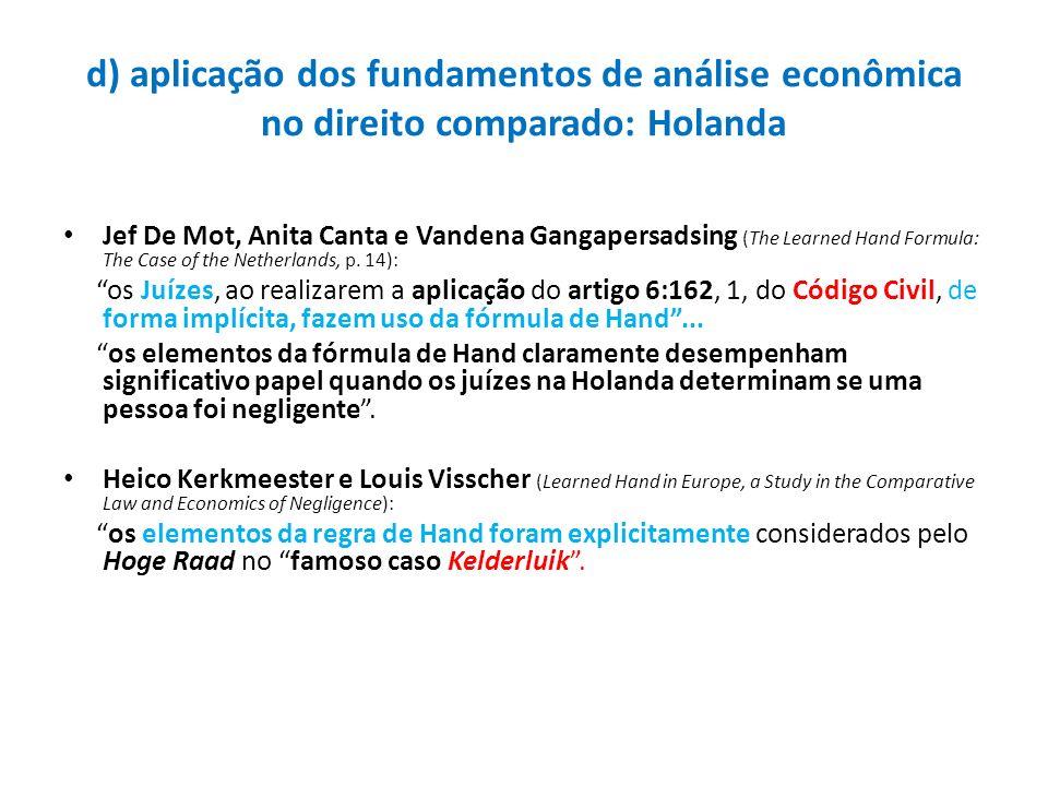 d) aplicação dos fundamentos de análise econômica no direito comparado: Holanda
