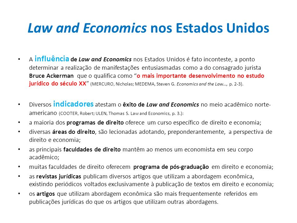 Law and Economics nos Estados Unidos