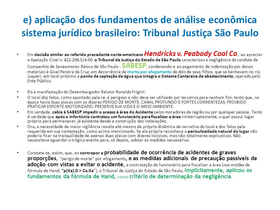 e) aplicação dos fundamentos de análise econômica sistema jurídico brasileiro: Tribunal Justiça São Paulo