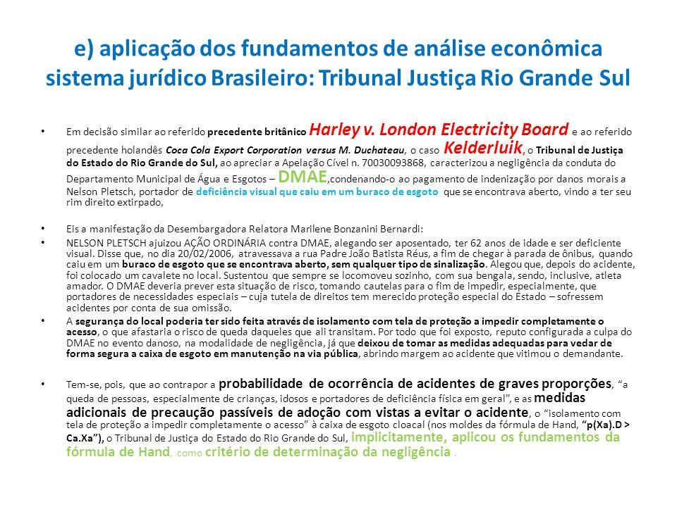 e) aplicação dos fundamentos de análise econômica sistema jurídico Brasileiro: Tribunal Justiça Rio Grande Sul