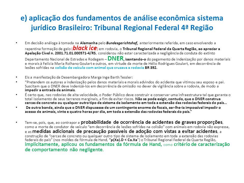 e) aplicação dos fundamentos de análise econômica sistema jurídico Brasileiro: Tribunal Regional Federal 4ª Região