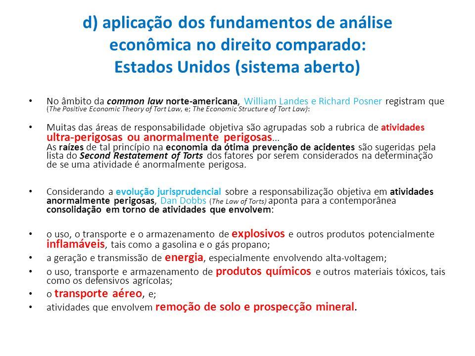 d) aplicação dos fundamentos de análise econômica no direito comparado: Estados Unidos (sistema aberto)