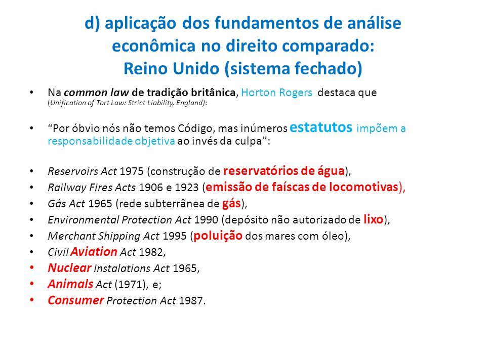 d) aplicação dos fundamentos de análise econômica no direito comparado: Reino Unido (sistema fechado)