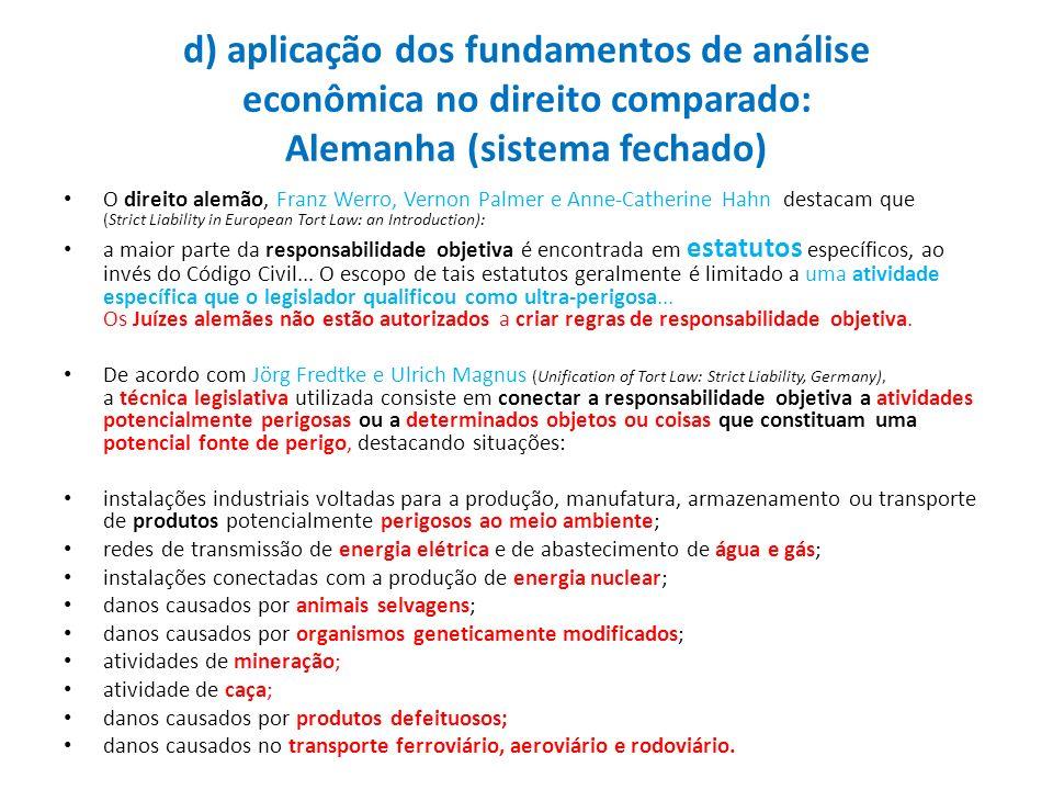 d) aplicação dos fundamentos de análise econômica no direito comparado: Alemanha (sistema fechado)