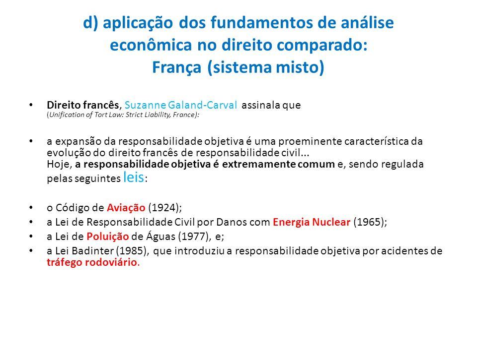 d) aplicação dos fundamentos de análise econômica no direito comparado: França (sistema misto)