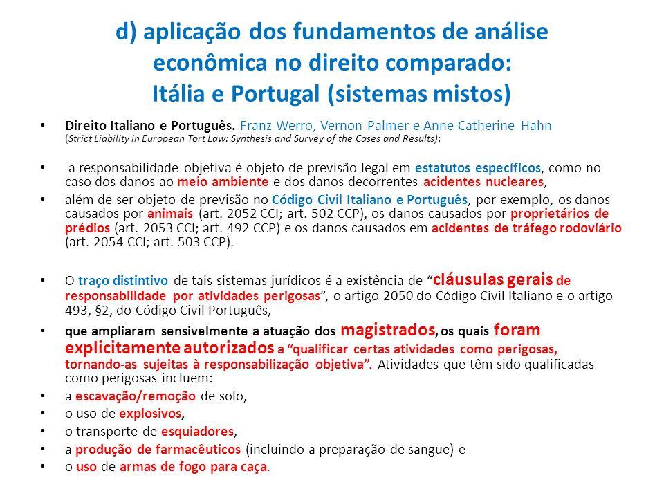 d) aplicação dos fundamentos de análise econômica no direito comparado: Itália e Portugal (sistemas mistos)