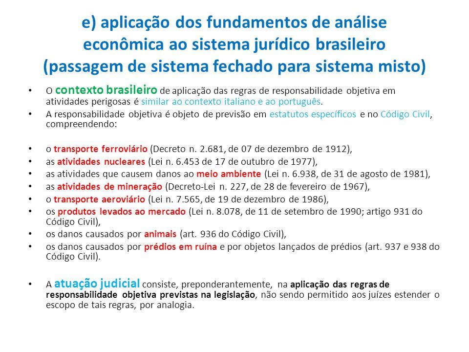 e) aplicação dos fundamentos de análise econômica ao sistema jurídico brasileiro (passagem de sistema fechado para sistema misto)