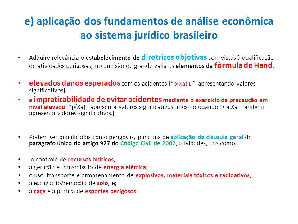e) aplicação dos fundamentos de análise econômica ao sistema jurídico brasileiro