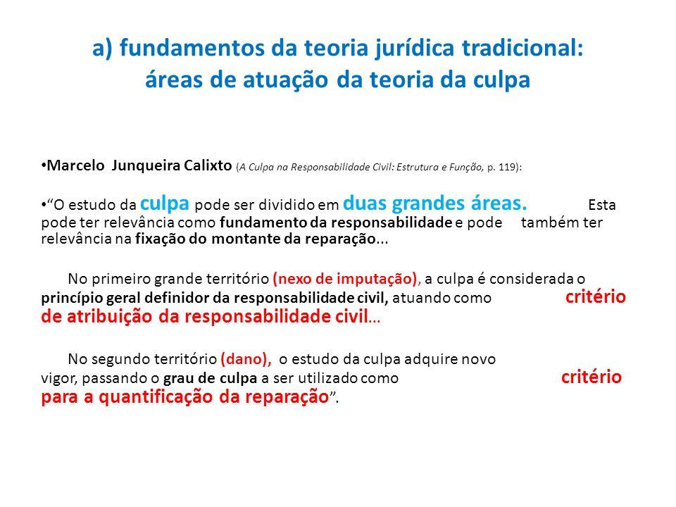 a) fundamentos da teoria jurídica tradicional: áreas de atuação da teoria da culpa
