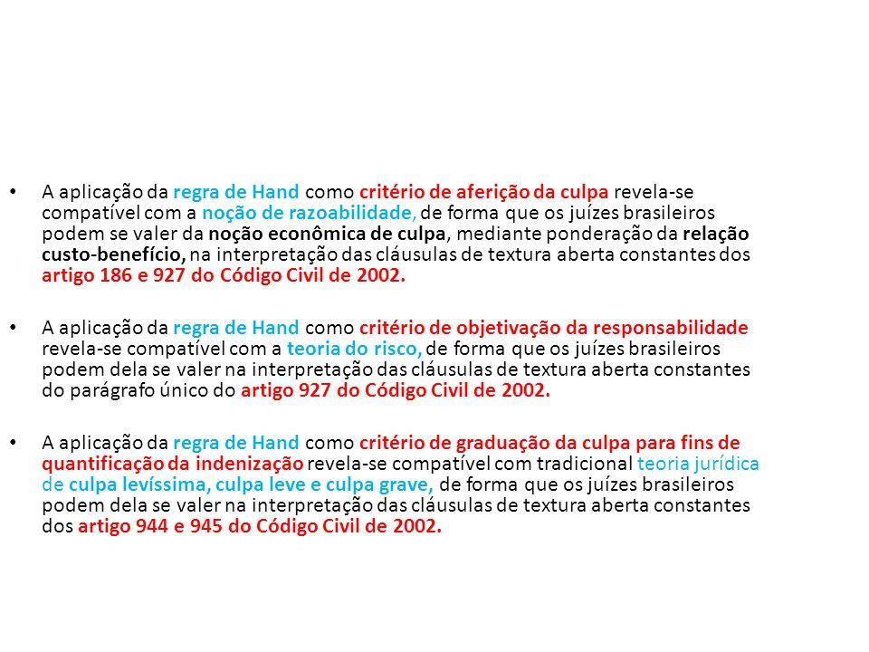 A aplicação da regra de Hand como critério de aferição da culpa revela-se compatível com a noção de razoabilidade, de forma que os juízes brasileiros podem se valer da noção econômica de culpa, mediante ponderação da relação custo-benefício, na interpretação das cláusulas de textura aberta constantes dos artigo 186 e 927 do Código Civil de 2002.