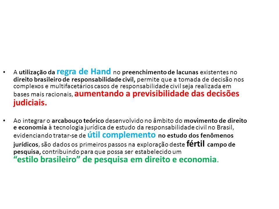 A utilização da regra de Hand no preenchimento de lacunas existentes no direito brasileiro de responsabilidade civil, permite que a tomada de decisão nos complexos e multifacetários casos de responsabilidade civil seja realizada em bases mais racionais, aumentando a previsibilidade das decisões judiciais.
