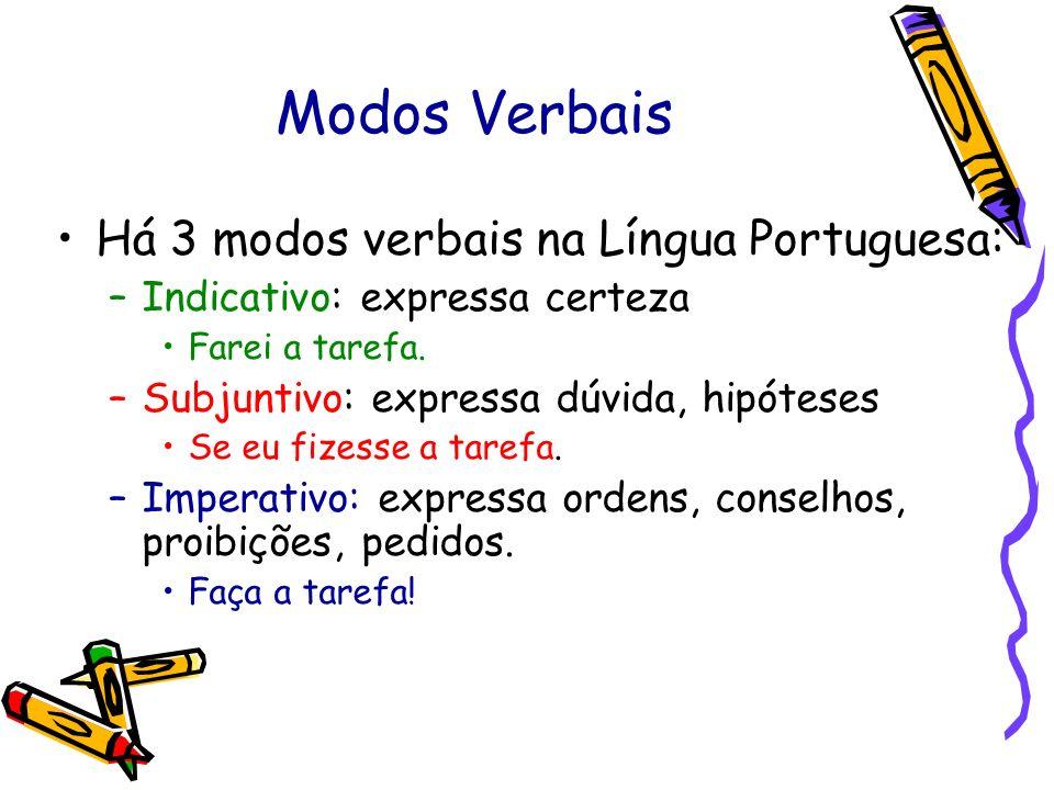 Modos Verbais Há 3 modos verbais na Língua Portuguesa: