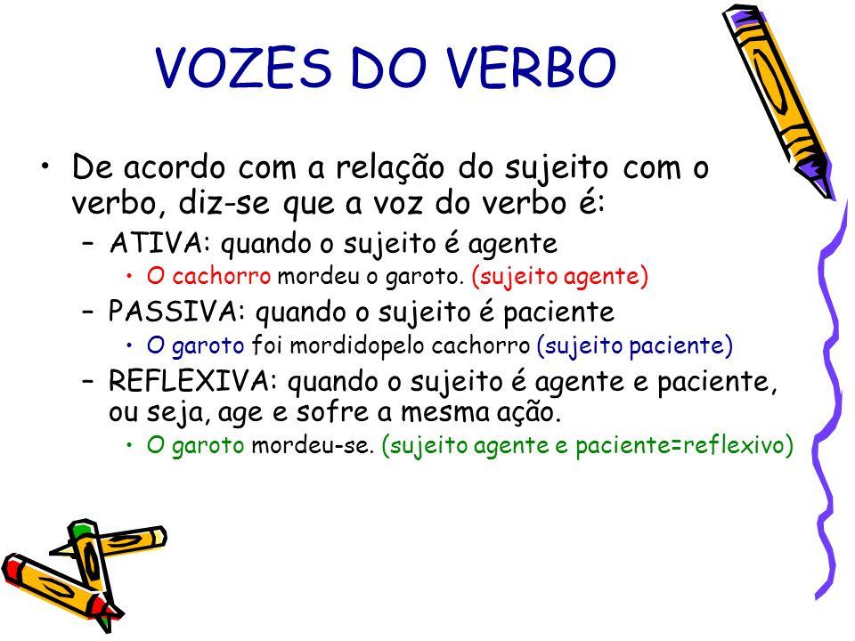 VOZES DO VERBO De acordo com a relação do sujeito com o verbo, diz-se que a voz do verbo é: ATIVA: quando o sujeito é agente.