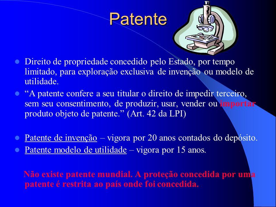Patente Direito de propriedade concedido pelo Estado, por tempo limitado, para exploração exclusiva de invenção ou modelo de utilidade.