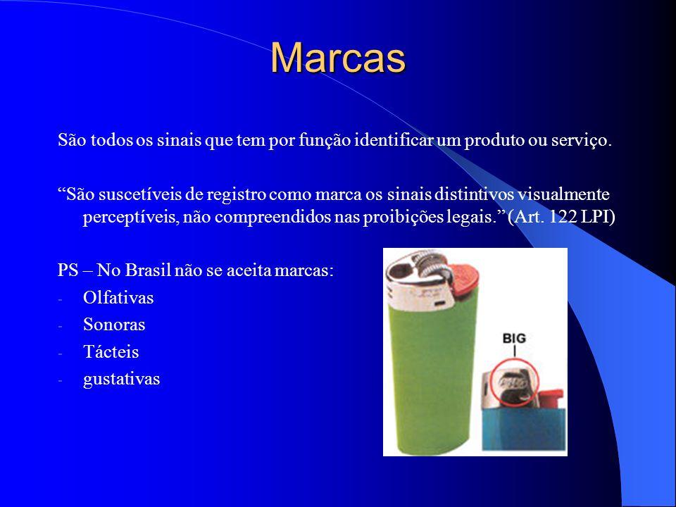MarcasSão todos os sinais que tem por função identificar um produto ou serviço.