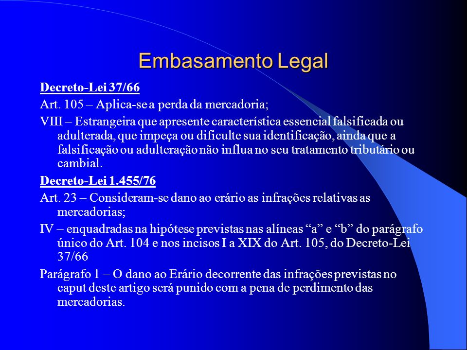 Embasamento Legal Decreto-Lei 37/66