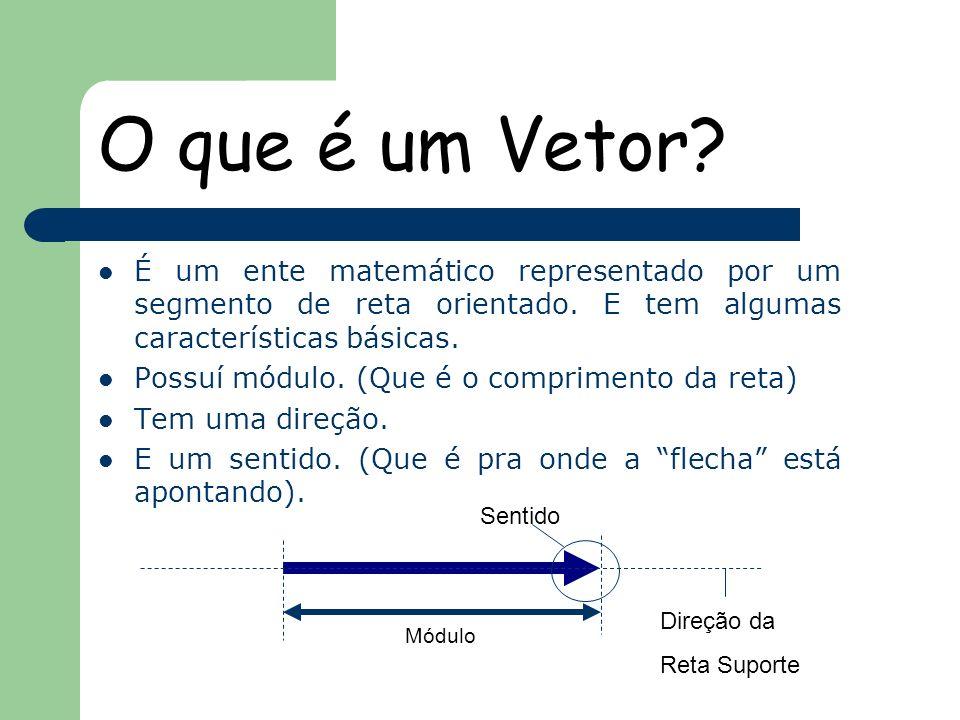 O que é um Vetor É um ente matemático representado por um segmento de reta orientado. E tem algumas características básicas.