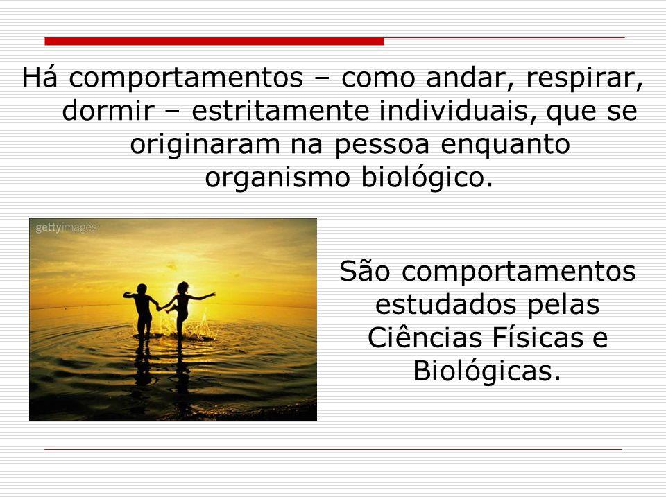 São comportamentos estudados pelas Ciências Físicas e Biológicas.