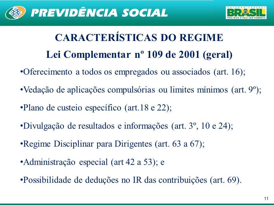 CARACTERÍSTICAS DO REGIME Lei Complementar nº 109 de 2001 (geral)