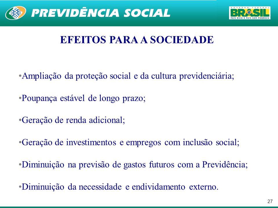EFEITOS PARA A SOCIEDADE