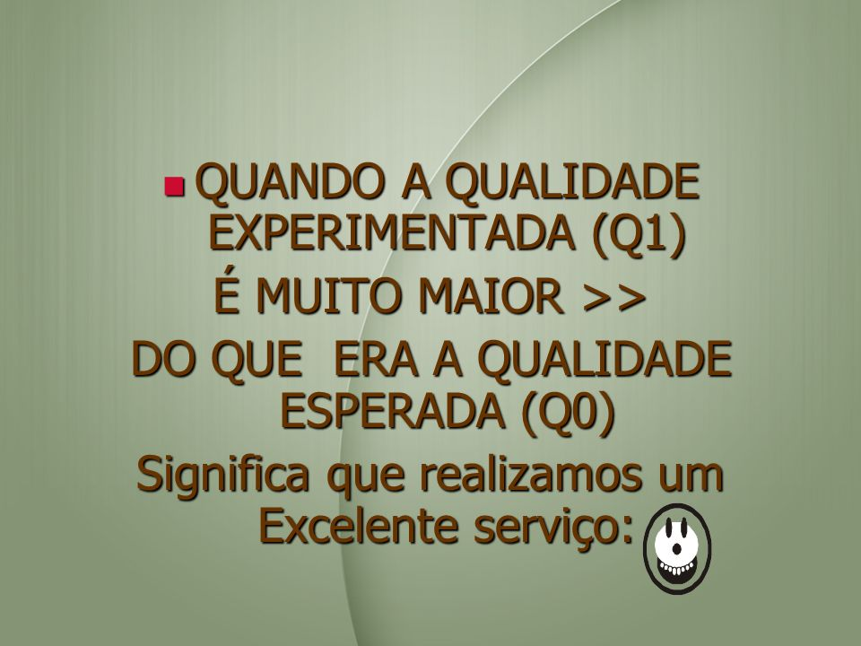 QUANDO A QUALIDADE EXPERIMENTADA (Q1) É MUITO MAIOR >>