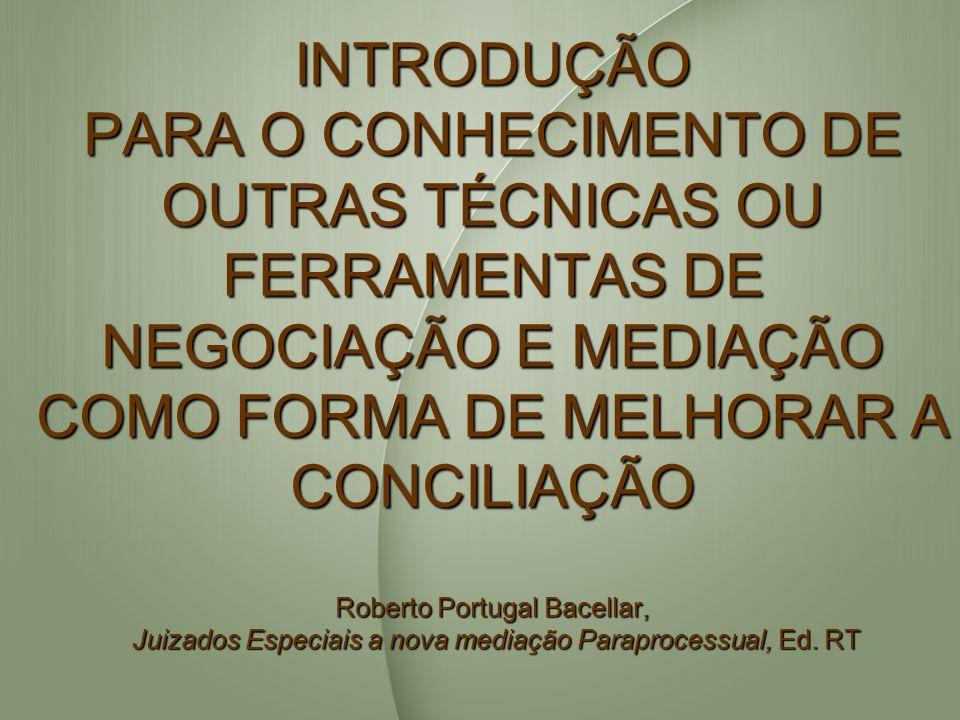 INTRODUÇÃO PARA O CONHECIMENTO DE OUTRAS TÉCNICAS OU FERRAMENTAS DE NEGOCIAÇÃO E MEDIAÇÃO COMO FORMA DE MELHORAR A CONCILIAÇÃO Roberto Portugal Bacellar, Juizados Especiais a nova mediação Paraprocessual, Ed.