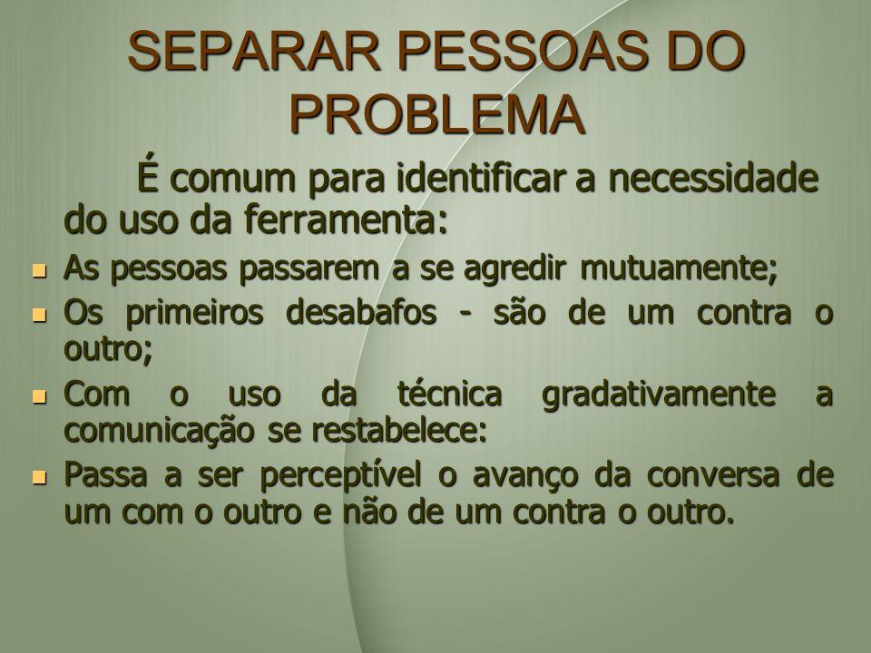 SEPARAR PESSOAS DO PROBLEMA