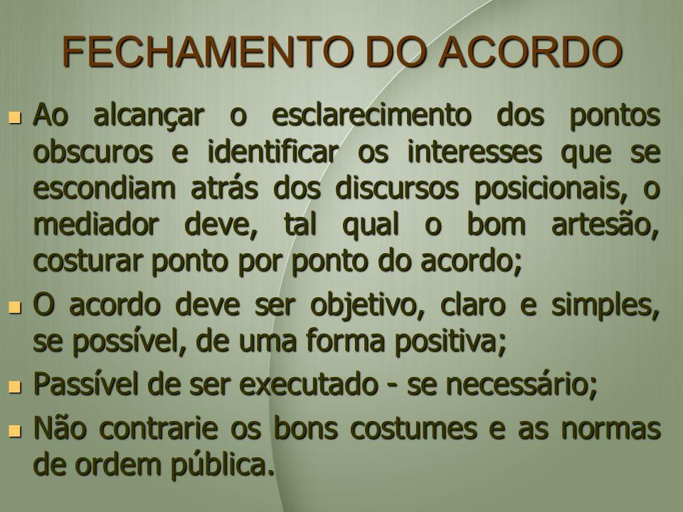 FECHAMENTO DO ACORDO