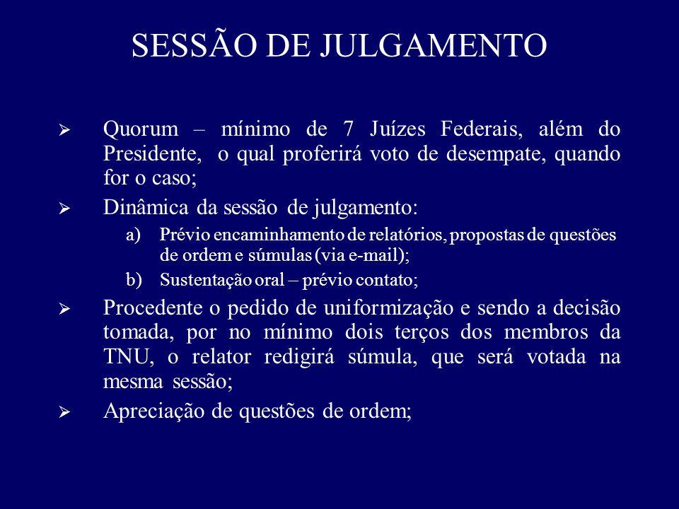SESSÃO DE JULGAMENTO Quorum – mínimo de 7 Juízes Federais, além do Presidente, o qual proferirá voto de desempate, quando for o caso;