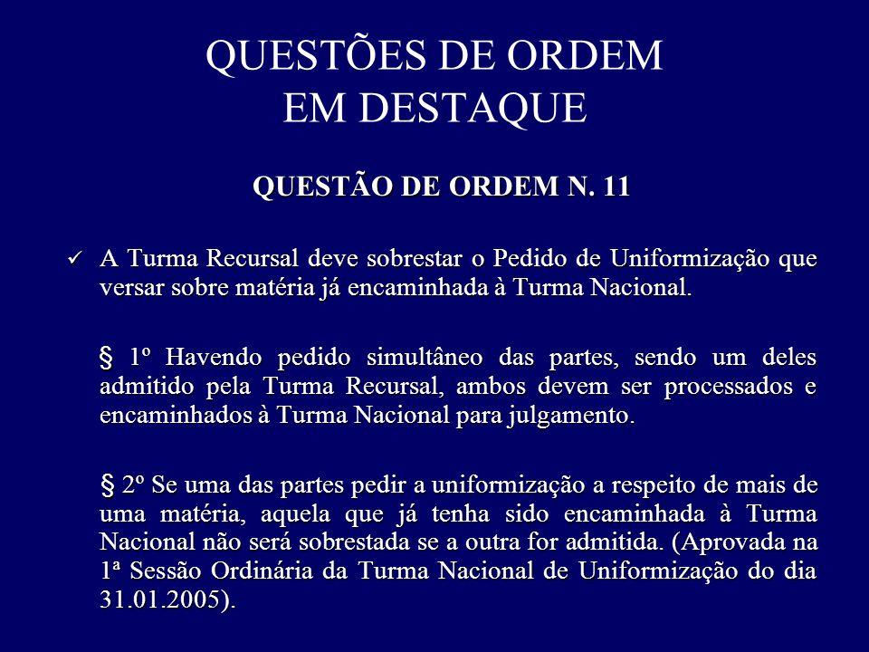 QUESTÕES DE ORDEM EM DESTAQUE