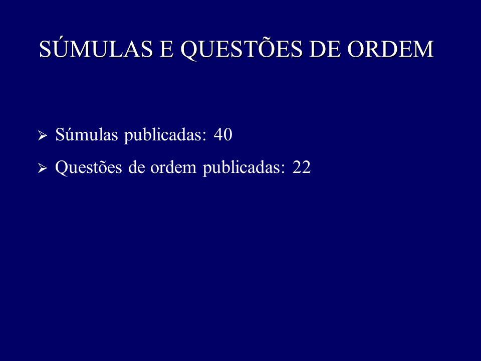SÚMULAS E QUESTÕES DE ORDEM
