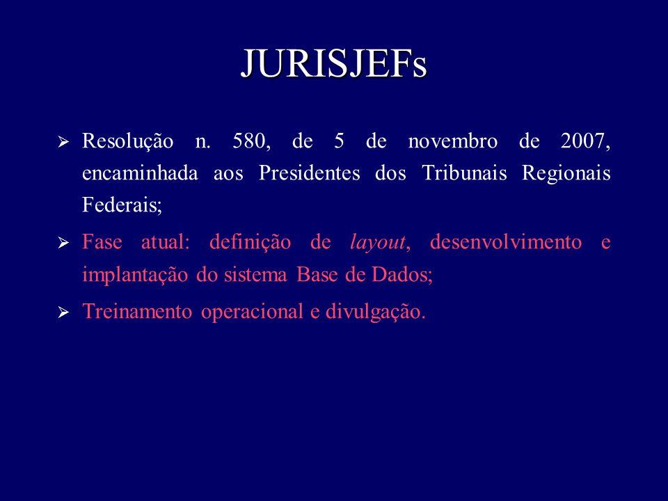 JURISJEFsResolução n. 580, de 5 de novembro de 2007, encaminhada aos Presidentes dos Tribunais Regionais Federais;
