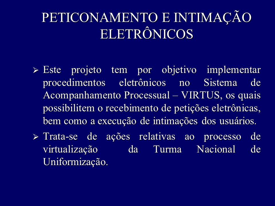 PETICONAMENTO E INTIMAÇÃO ELETRÔNICOS