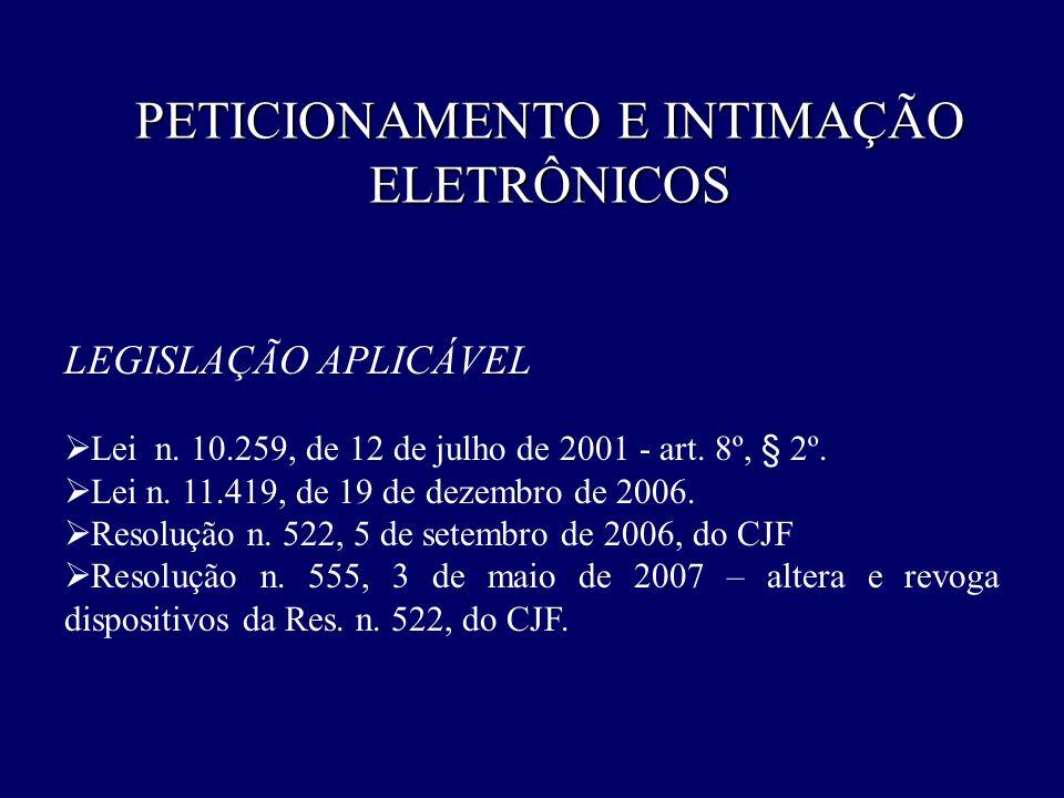 PETICIONAMENTO E INTIMAÇÃO ELETRÔNICOS