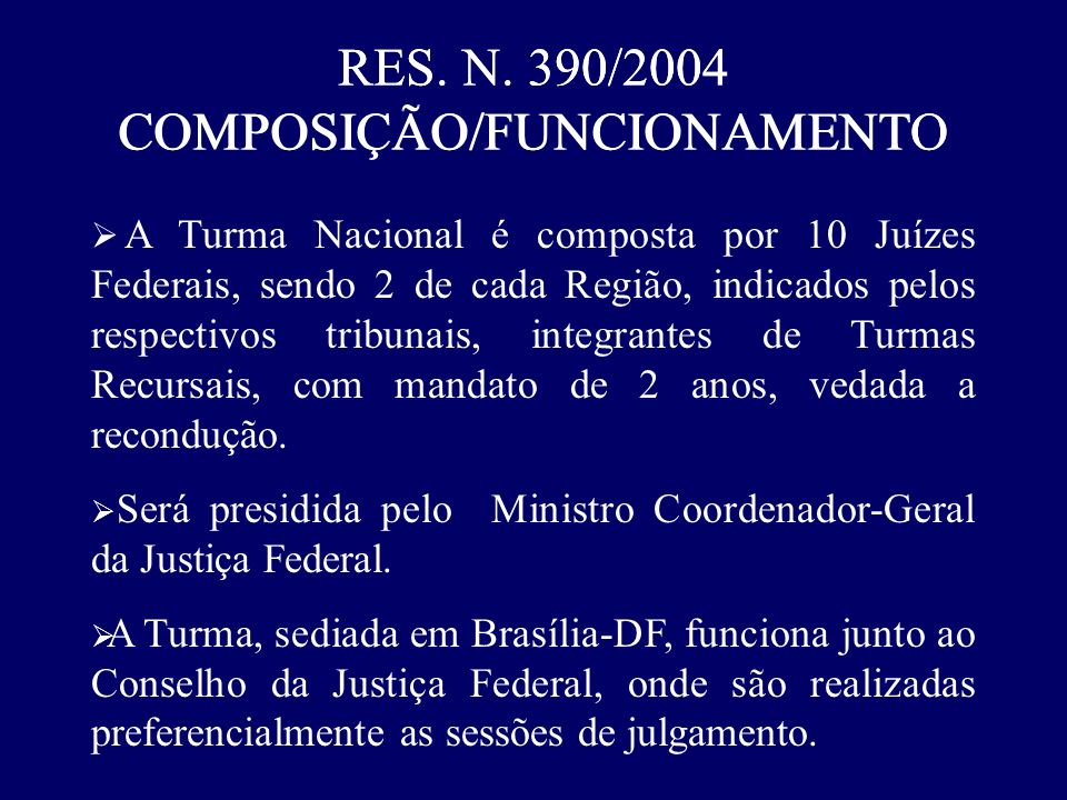 RES. N. 390/2004 COMPOSIÇÃO/FUNCIONAMENTO