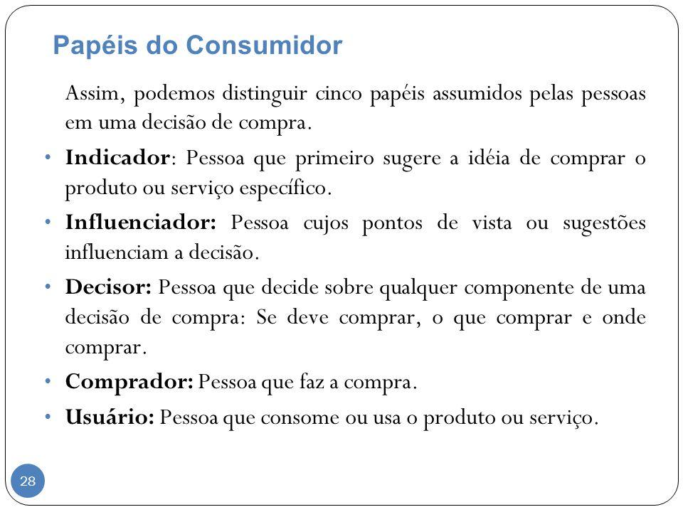 Papéis do Consumidor Assim, podemos distinguir cinco papéis assumidos pelas pessoas em uma decisão de compra.
