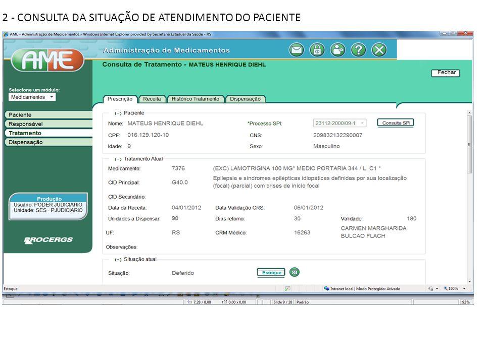 2 - CONSULTA DA SITUAÇÃO DE ATENDIMENTO DO PACIENTE