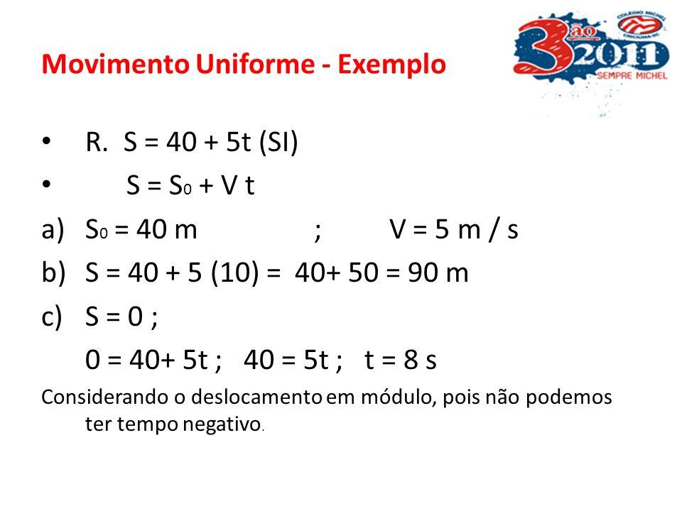 Movimento Uniforme - Exemplo