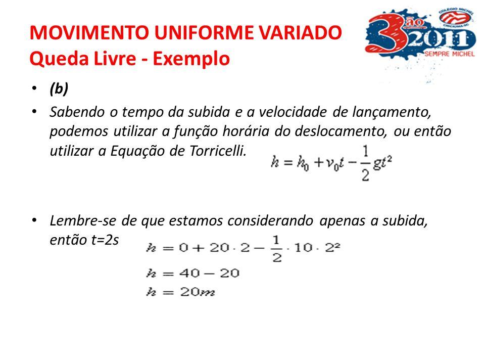 MOVIMENTO UNIFORME VARIADO Queda Livre - Exemplo