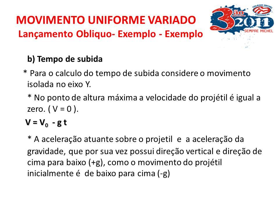 MOVIMENTO UNIFORME VARIADO Lançamento Obliquo- Exemplo - Exemplo