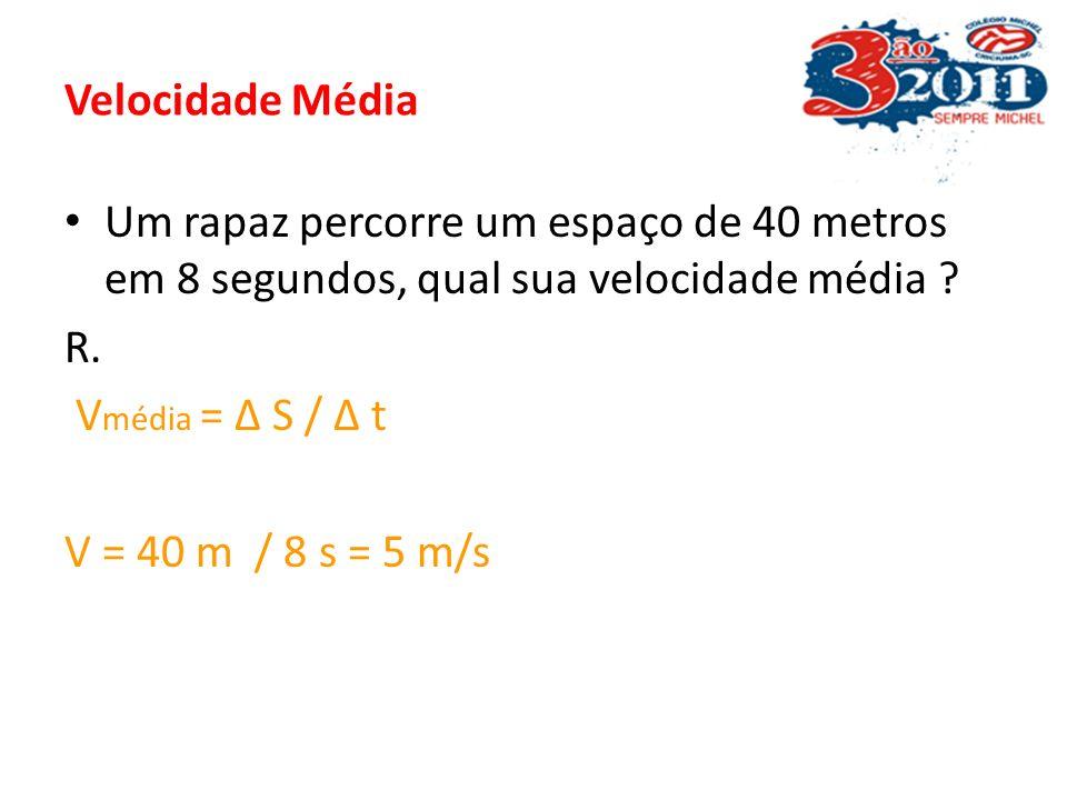 Velocidade Média Um rapaz percorre um espaço de 40 metros em 8 segundos, qual sua velocidade média