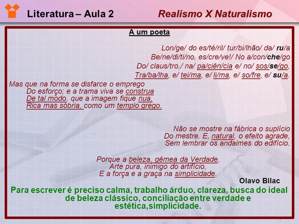 Literatura – Aula 2 Realismo X Naturalismo