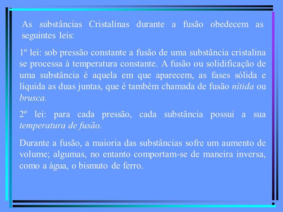 As substâncias Cristalinas durante a fusão obedecem as seguintes leis: