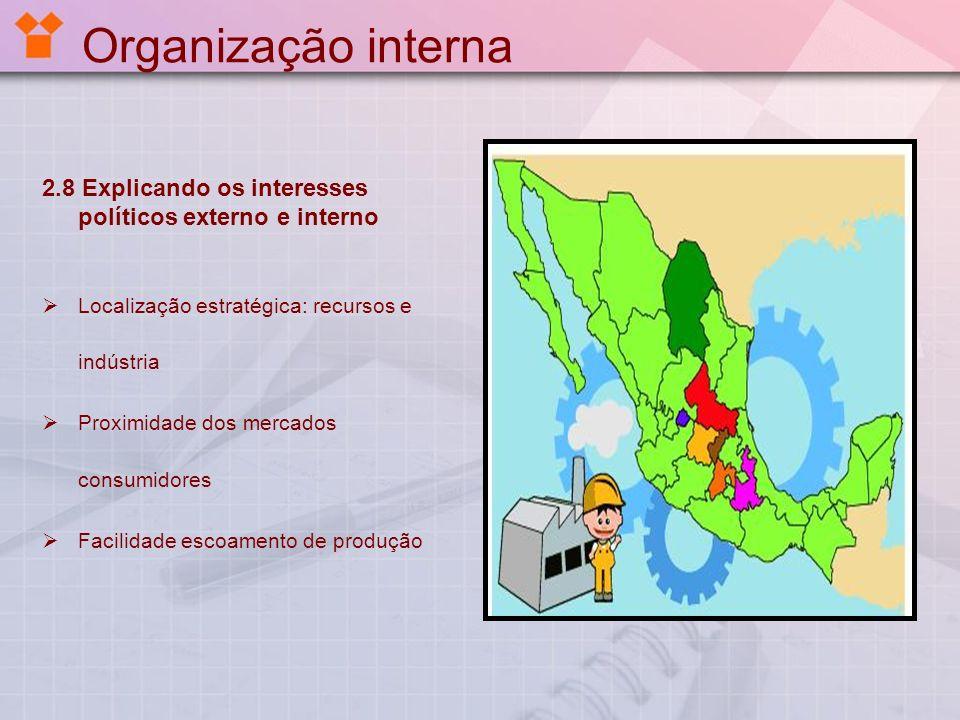 Organização interna 2.8 Explicando os interesses políticos externo e interno. Localização estratégica: recursos e indústria.