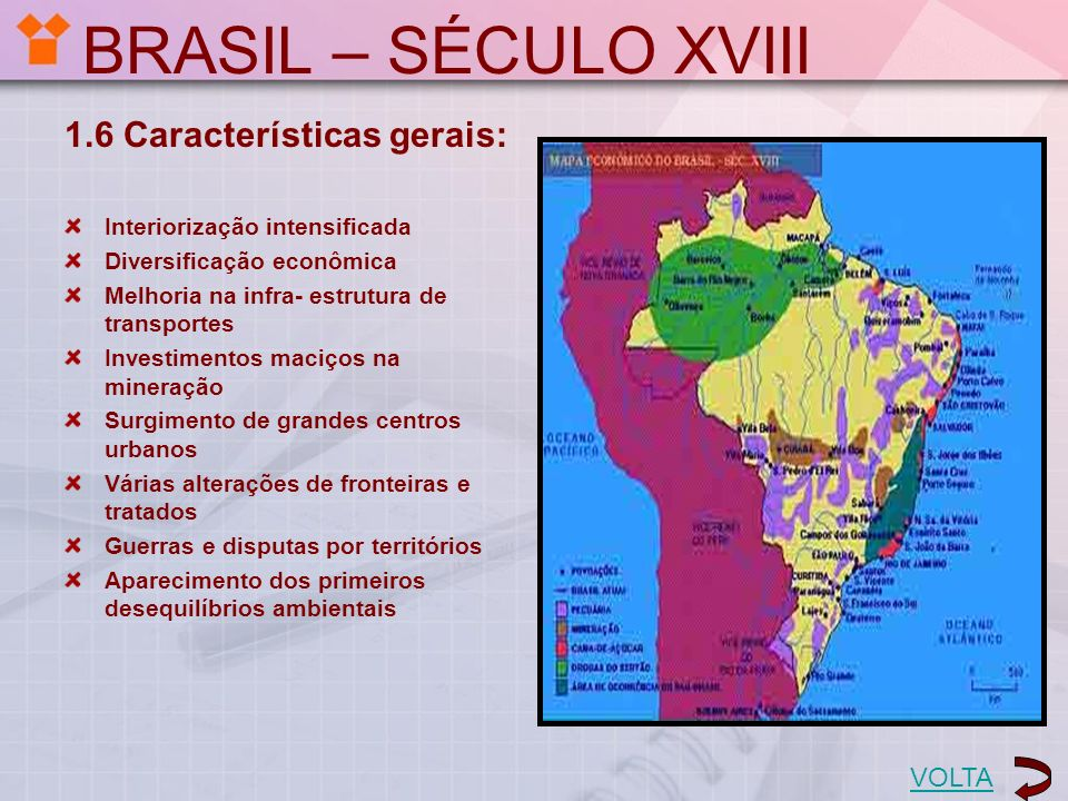 BRASIL – SÉCULO XVIII 1.6 Características gerais: VOLTA