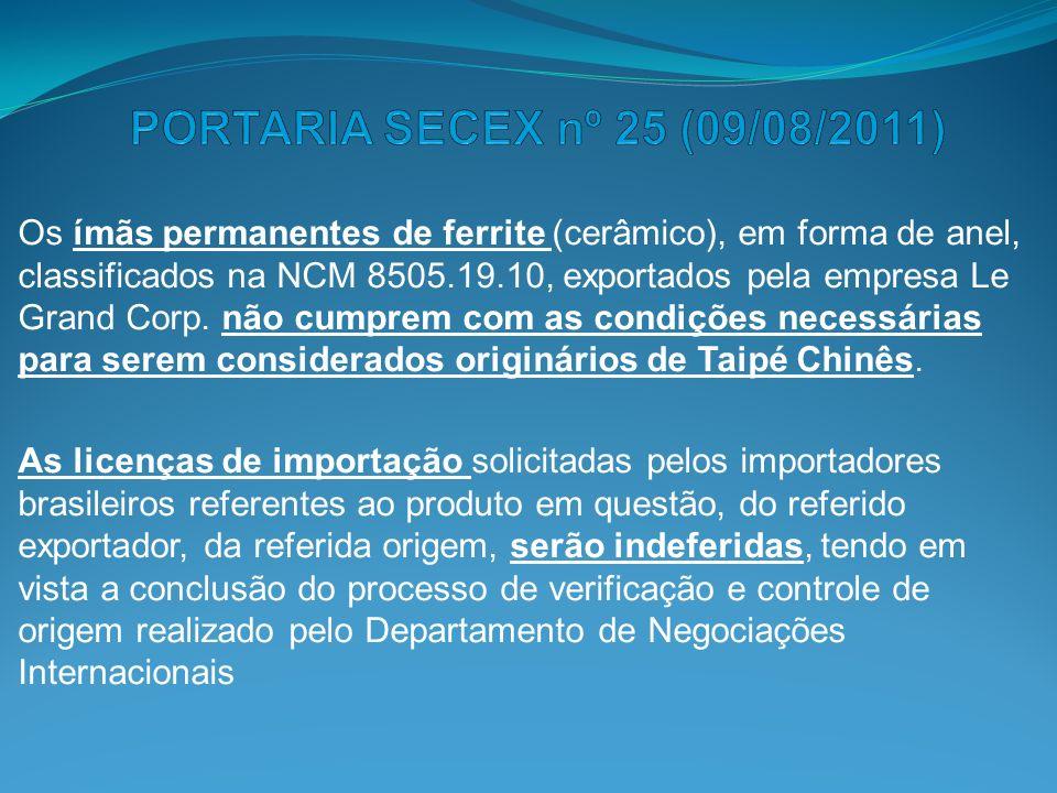 PORTARIA SECEX nº 25 (09/08/2011)