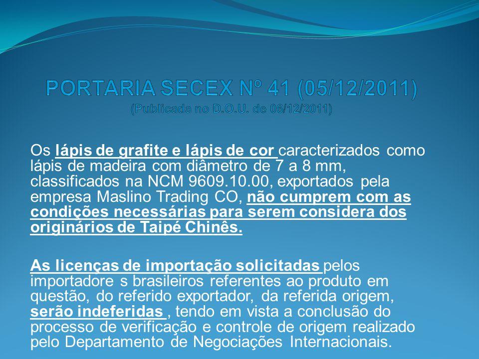 PORTARIA SECEX Nº 41 (05/12/2011) (Publicada no D.O.U. de 06/12/2011)