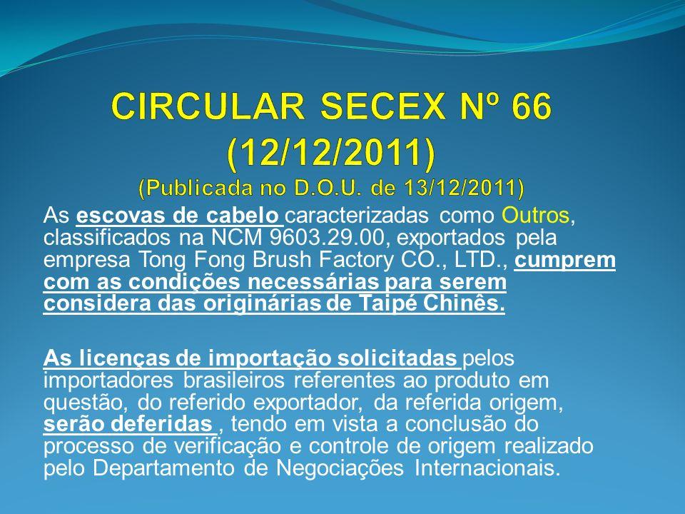 CIRCULAR SECEX Nº 66 (12/12/2011) (Publicada no D.O.U. de 13/12/2011)