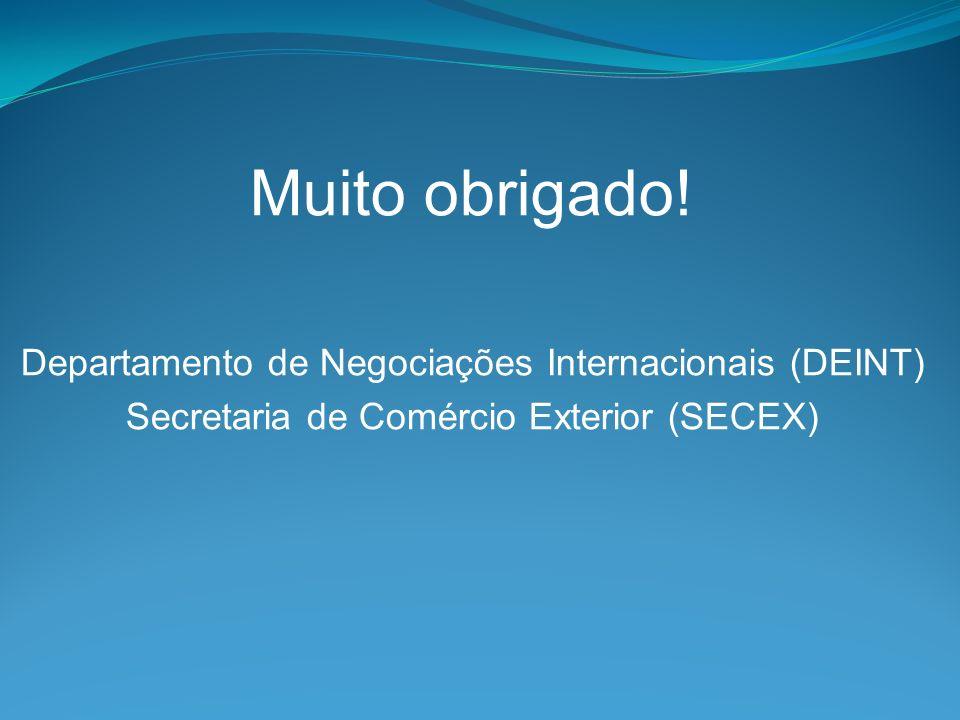 Muito obrigado! Departamento de Negociações Internacionais (DEINT)