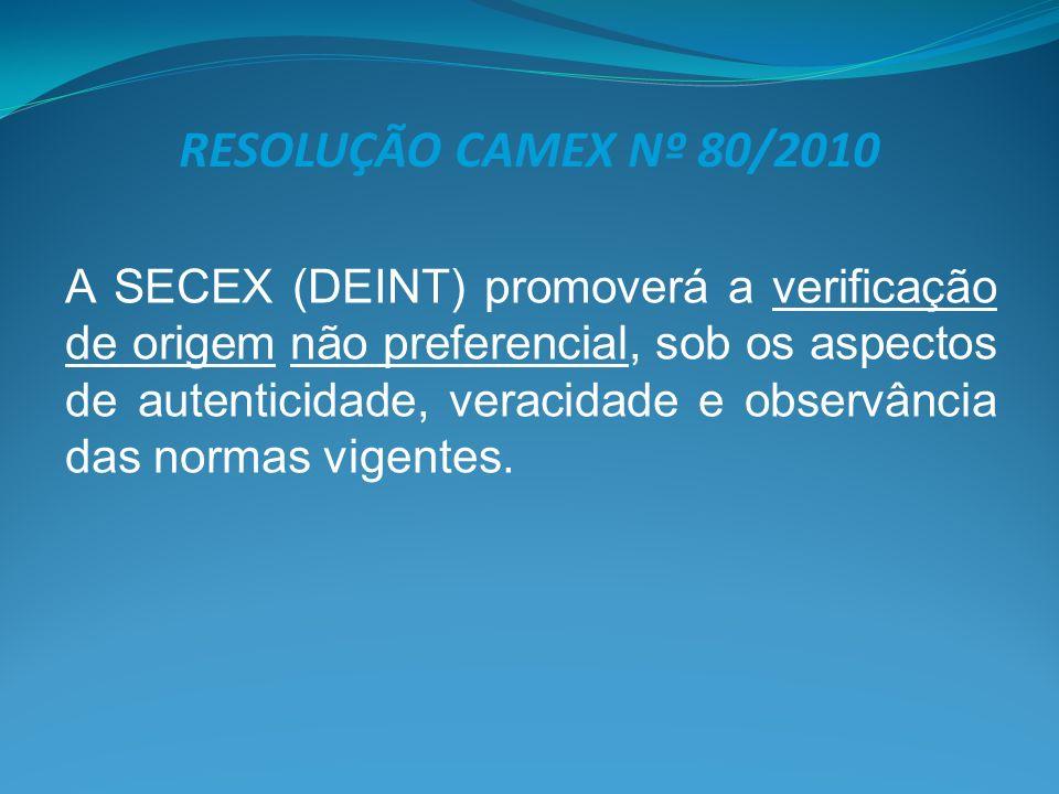 RESOLUÇÃO CAMEX Nº 80/2010